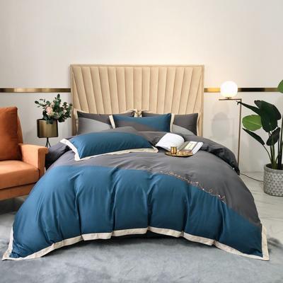 2020新款-A類奧棉未央斜拼(奧棉)四件套 床單款1.5m(5英尺)床 臻藍+深灰