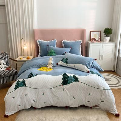 2020新款-工艺类彩虹兔四件套 1.8m床单款四件套 圣诞夜(牛奶绒230克)