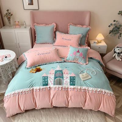 2020新款-工艺类彩虹兔四件套 1.8m床单款四件套 童话城堡(婴儿绒230克)