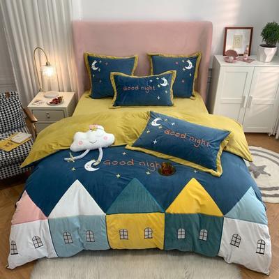 2020新款-工艺类彩虹兔四件套 1.8m床单款四件套 夜空的星(婴儿绒 230克)