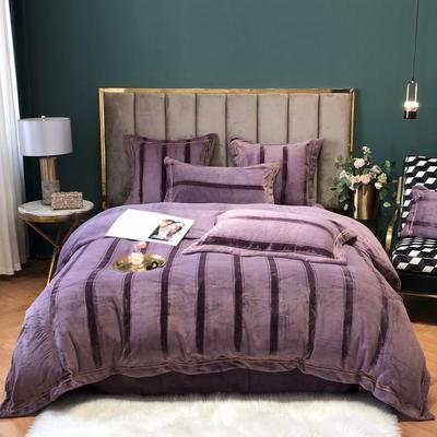 2020新款-绒提花约瑟芬系列四件套 1.5m床单款四件套 约瑟芬-贵妇紫