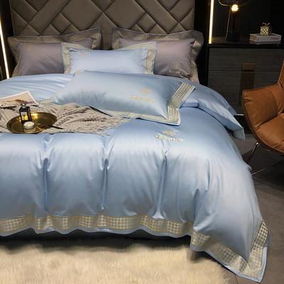 2021新款-100支纯棉千鸟格刺绣轻奢系列 1.8m床单款四件套 千鸟格--青纱蓝风格1