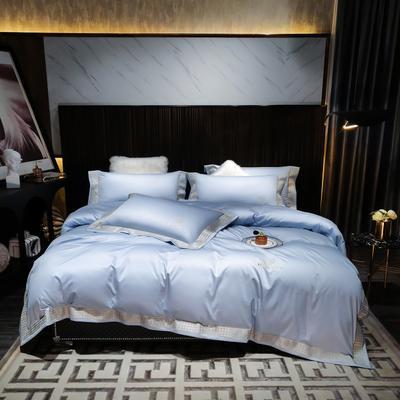 2021新款-100支纯棉千鸟格刺绣轻奢系列 1.8m床单款四件套 千鸟格--青纱蓝风格2