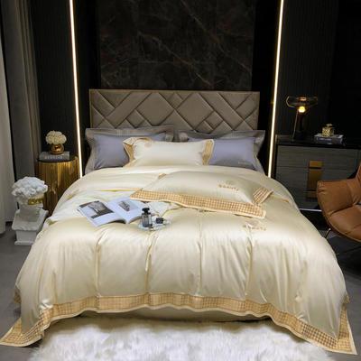 2021新款-100支纯棉千鸟格刺绣轻奢系列 1.8m床单款四件套 千鸟格--珍珠色风格2