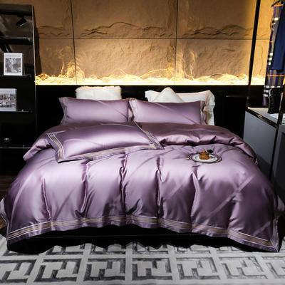 2021新款-100支全棉大提花四件套 1.8m床单款四件套 薄雾--薄紫