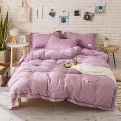 2019新款天竺雅麻四件套 1.2m床三件套 富士紫