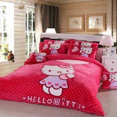 0双蒋 加厚大版卡通法兰绒四套件(床笠款1) 1.2m(4英尺)床 9KT 玫红
