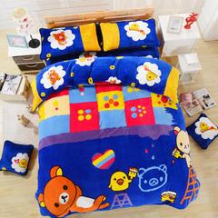 0双蒋 加厚法兰绒套件(床笠款2) 1.5m(5英尺)床 13蓝色轻松熊