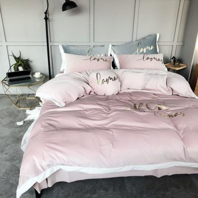 2019新款丽丝绒烫金四件套 1.5m(5英尺)床 脏脏粉