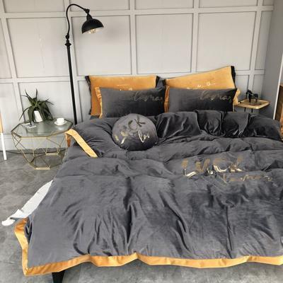 2019新款丽丝绒烫金四件套 1.5m(5英尺)床 烟灰