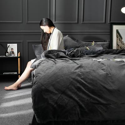 水晶绒毛线绣四件套 标准1.5m-1.8m床 大象-灰