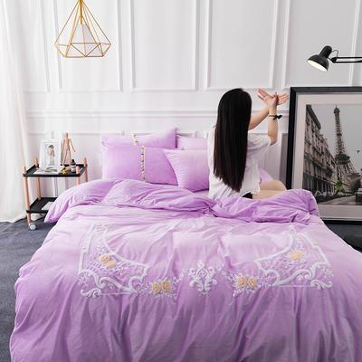 水晶绒毛线绣四件套 标准1.5m-1.8m床 魅影-紫