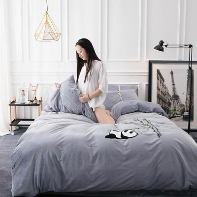 水晶绒毛线绣四件套 标准1.5m-1.8m床 熊猫-灰