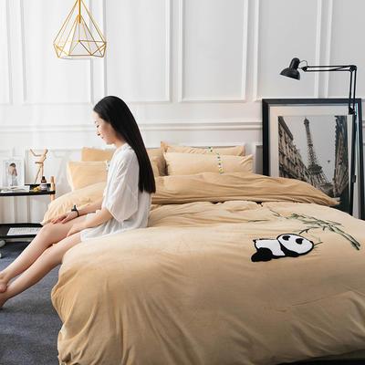 水晶绒毛线绣四件套 标准1.5m-1.8m床 熊猫-棕