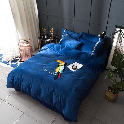 水晶绒毛线绣四件套 标准1.5m-1.8m床 鹦鹉-蓝