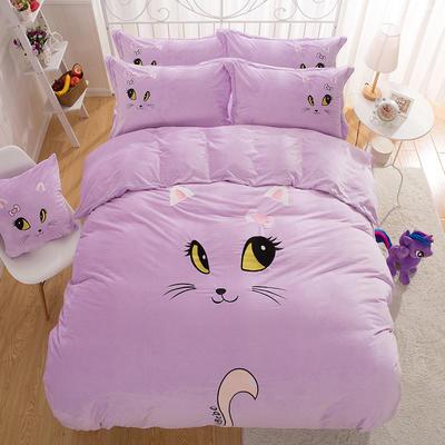 水晶绒绣花四件套 标准1.5m-1.8m床(加包装) 表情猫-浅紫