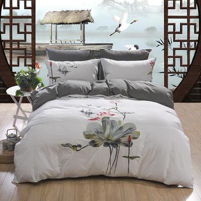 水洗棉绣花四件套 标准1.5m-1.8m床 荷塘月色