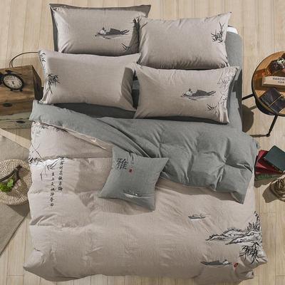 水洗棉绣花四件套 标准1.5m-1.8m床 竹韵