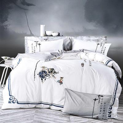 水洗棉新中式四件套 标准1.5m-1.8m床 牧童-白