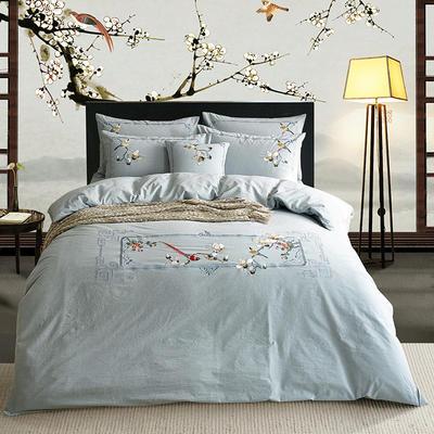水洗棉新中式四件套 标准1.5m-1.8m床 鸟语花香