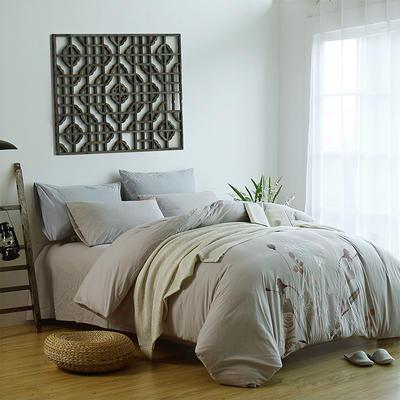 水洗棉新中式四件套 标准1.5m-1.8m床 青枝绿叶-灰