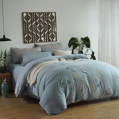水洗棉新中式四件套 标准1.5m-1.8m床 青枝绿叶-蓝