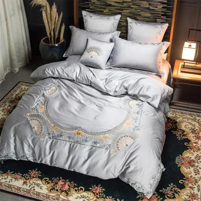 60S长棉绒四件套 2.0m(6.6英尺)床 扇-白银灰