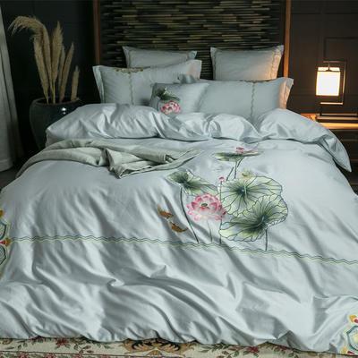 60S长棉绒四件套 2.0m(6.6英尺)床 荷-青灰
