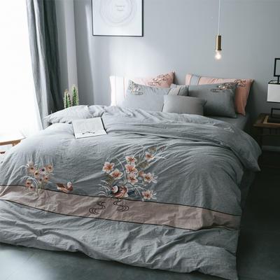 水洗棉四件套 2.0m(6.6英尺)床 鸳鸯-灰