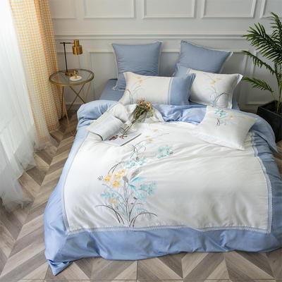 2018新款60S长绒棉四件套(幽兰花香) 2.0m(6.6英尺)床 靠垫套/一对(不含套件)