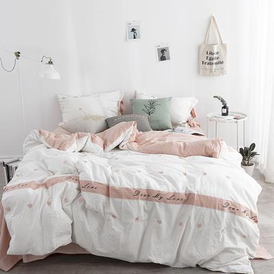2018新品32S 活性全棉水洗棉四件套--爱心 1.5m(5英尺)床 爱心-白