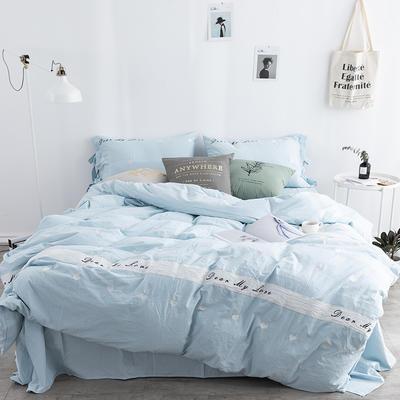 2018新品32S 活性全棉水洗棉四件套--爱心 1.8m(6英尺)床 爱心-蓝