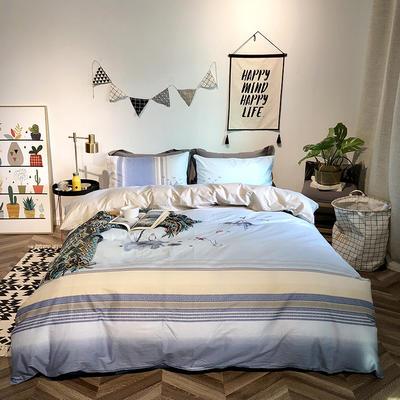 2019新品全棉印加绣系列四件套实拍图 1.2m(4英尺)床 荷塘韵色
