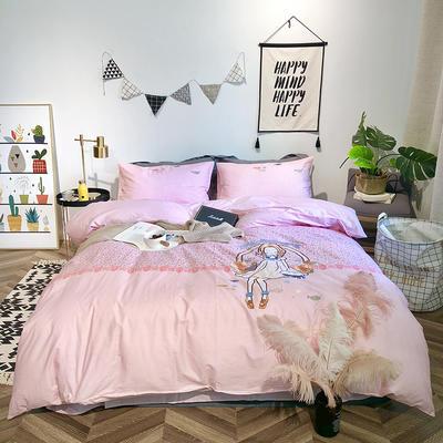 2019新品全棉印加绣系列四件套实拍图 1.2m(4英尺)床 快乐天使