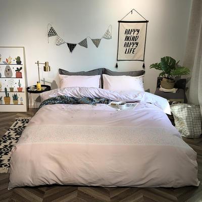 2019新品全棉印加绣系列四件套实拍图 1.2m(4英尺)床 叶叶真情-粉