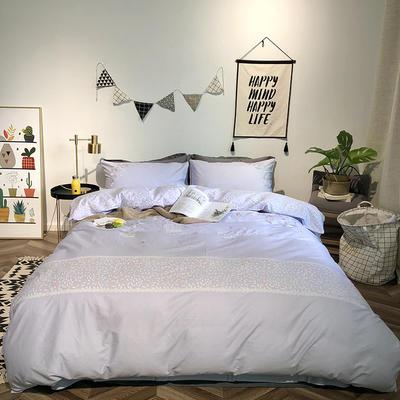 2019新品全棉印加绣系列四件套实拍图 1.2m(4英尺)床 叶叶真情-紫