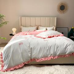 2019新款60长绒棉刺绣四件套 1.5m(5英尺)床 律动-粉色