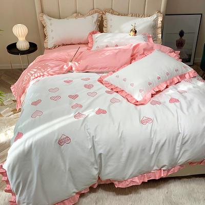 2019新款60长绒棉刺绣四件套 1.8m(6英尺)床 律动-粉色