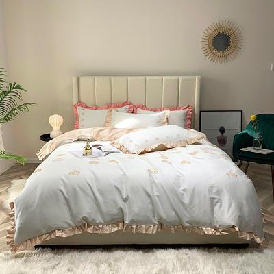 2019新款60长绒棉刺绣四件套 1.5m(5英尺)床 律动-香槟色