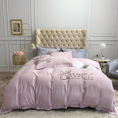 2020新款天丝磨毛四件套 1.5m(5英尺)床单款 粉紫