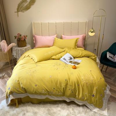 2019新款長絨棉四件套 1.5m(5英尺)床 星空-黃