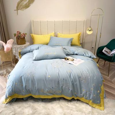 2019新款長絨棉四件套 1.5m(5英尺)床 星空-藍色