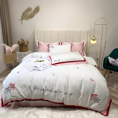 2019新款长绒棉四件套 1.5m(5英尺)床 樱桃-白色