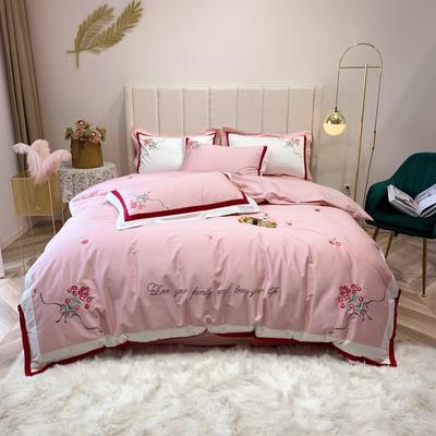 2019新款长绒棉四件套 1.5m(5英尺)床 樱桃-粉色