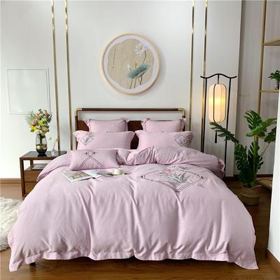 2020新品高克重天丝四件套 1.5m(5英尺)床 兰-粉紫