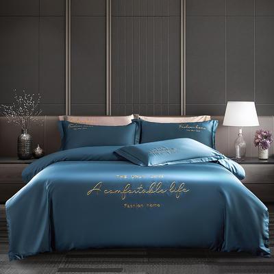 2020新款60長絨棉四件套 1.5m床單款四件套 月光藍