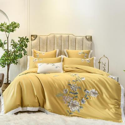 2021新款60s长绒棉刺绣四件套(花西子系列) 1.8m床单款四件套 花西子-黄