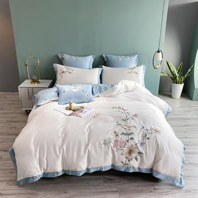 2021新款60s长绒棉刺绣四件套(花西子系列) 1.8m床单款四件套 花西子-白