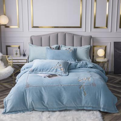 2020新款牛奶绒刺绣四件套 1.8m床单款四件套 芳华-蓝