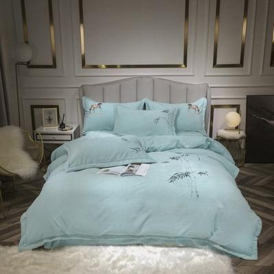 2020新款牛奶绒刺绣四件套 1.8m床单款四件套 佛-蓝色